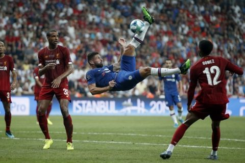 Chelsea's Olivier Giroud attempts a shot at goal during the UEFA Super Cup soccer match between Liverpool and Chelsea, in Besiktas Park, in Istanbul, Wednesday, Aug. 14, 2019. (AP Photo/Thanassis Stavrakis)