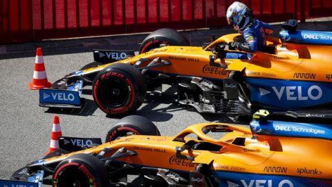 Daniel Ricciardo, McLaren MCL35M, arrives in Parc Ferme after Qualifying