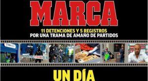 Το μαύρο πρωτοσέλιδο της MARCA για το κύκλωμα στημένων αγώνων