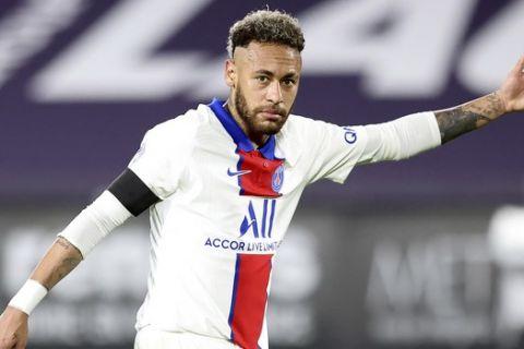 Ο Νεϊμάρ στην αναμέτρηση ανάμεσα στη Ρεν και την Παρί για την Ligue 1 στις 9 Μαΐου του 2021.