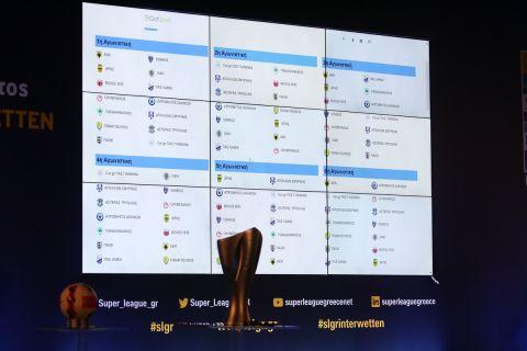 Στιγμιότυπο από την κλήρωση του πρωταθλήματος της Super League Interwetten για τη σεζόν 2021-22