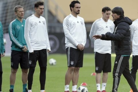 Germany's national soccer coach Joachim Loew, right, gestures as he talks to the players during a training session in Berlin, Germany, Monday, March 26, 2018. Germany will face Brazil for an international friendly soccer match on Tuesday, March 27, 2018 in Berlin. (AP Photo/Michael Sohn)