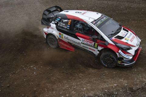 Ott Tanak (EST) Martin Jarveoja (EST) of team Toyota Gazoo Racing WRT is seen racing on day 3 during the World Rally Championship Chile in Conseption, Chile on May 11, 2019