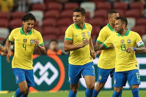Ο Καζεμίρο της Βραζιλίας πανηγυρίζει γκολ που σημείωσε κόντρα στη Νιγηρία σε φιλικό στη Σιγκαπούρη   Κυριακή 13 Οκτωβρίου 2019