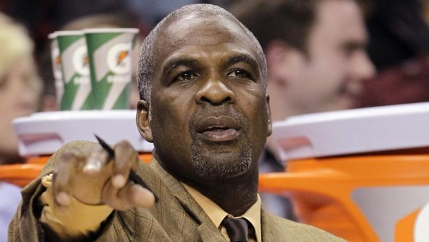 FILE - In this Jan. 20, 2011 photo, then-Charlotte Bobcats assistant coach and former New York Knicks star Charles Oakley directs players in the first half of an NBA basketball game against the Philadelphia 76ers in Charlotte, N.C.  Oakley was forcefully removed from his seats at Madison Square Garden and arrested after an altercation near team owner James Dolan. Oakley shoved security guards before they pulled him away from his seat behind the baseline during the first quarter of the Knicks' 119-115 loss to the Los Angeles Clippers on Wednesday night, Feb. 8, 2017. (AP Photo/Chuck Burton, File)