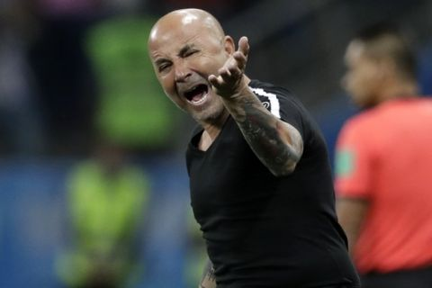 Argentina coach Jorge Sampaoli reacts during the group D match between Argentina and Croatia at the 2018 soccer World Cup in Nizhny Novgorod Stadium in Nizhny Novgorod, Russia, Thursday, June 21, 2018. Croatia won 3-0. (AP Photo/Petr David Josek)