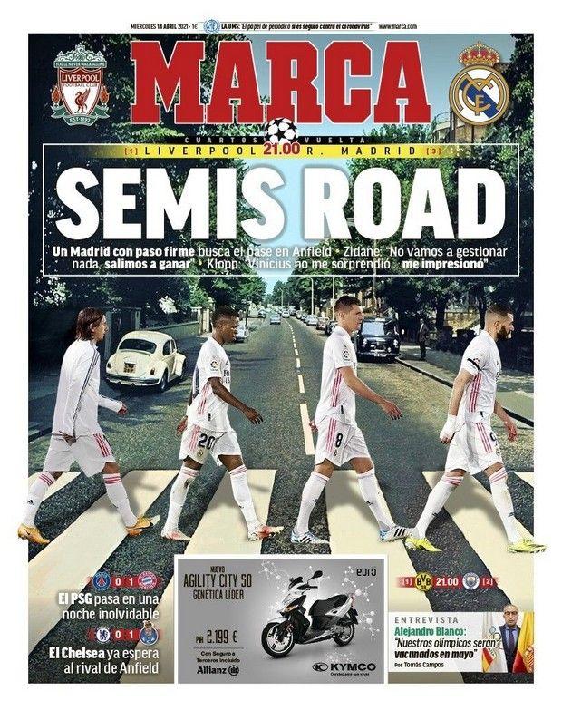 Το πρωτοσέλιδο της Marca πριν από την κόντρα της Ρεάλ με την Λίβερπουλ στα προημιτελικά του Champions League