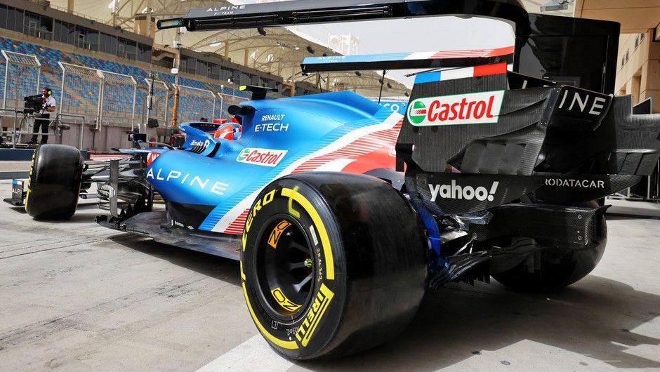 Esteban Ocon (FRA) Alpine F1 Team A521 leaves the pits. Formula One Testing, Friday 12th March 2021. Sakhir, Bahrain.