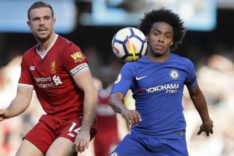 Chelsea's Willian, right, challenges for the ball with Liverpool's Jordan Henderson during the English Premier League soccer match between Chelsea and Liverpool at Stamford Bridge stadium in London, Sunday, May 6, 2018. (AP Photo/Kirsty Wigglesworth)