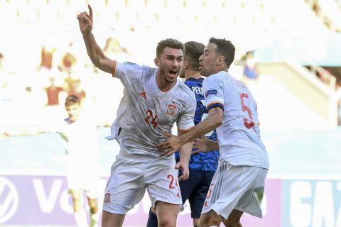 Ο Αϊμερίκ Λαπόρτ πανηγυρίζει το γκολ που σημείωσε κόντρα στη Σλοβακία