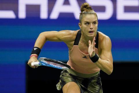 Η Μαρία Σάκκαρη στη διάρκεια του ημιτελικού στο US Open
