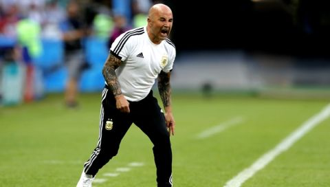 Argentina coach Jorge Sampaoli screams during the round of 16 match between France and Argentina, at the 2018 soccer World Cup at the Kazan Arena in Kazan, Russia, Thursday, June 28, 2018. (AP Photo/Ricardo Mazalan)
