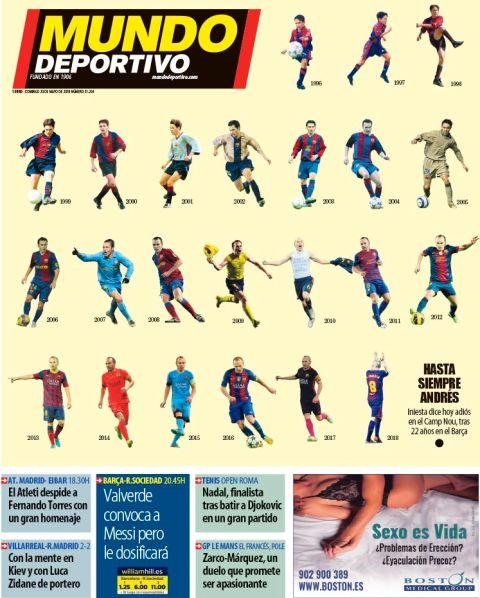 """Το υπέροχο πρωτοσέλιδο της """"Mundo Deportivo"""" για τον Ινιέστα"""