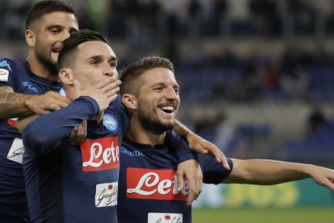 Napoli's Jose Callejon, center, celebrates with his teammate Dries Mertens , right, and Lorenzo Insigne after scoring during a Serie A soccer match between Lazio and Napoli, at the Rome Olympic stadium, Wednesday, Sept. 20, 2017. (AP Photo/Alessandra Tarantino)