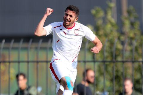 Ο Ιμπραΐμι πανηγυρίζει γκολ του στο Προοδευτική - Ξάνθη για το Κύπελλο Ελλάδας