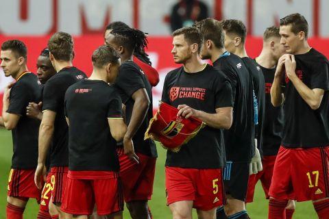Οι παίκτες της εθνικής Βελγίου πριν από ματς των προκριματικών του Παγκοσμίου Κυπέλλου 2022 κόντρα στην Λευκορωσία