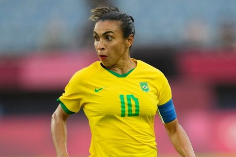 Η Μάρτα με τη φανέλα της Βραζιλίας στην πρεμιέρα του Ολυμπιακού τουρνουά στους Αγώνες του Τόκιο κόντρα στην Κίνα | 21 Ιουλίου 2021
