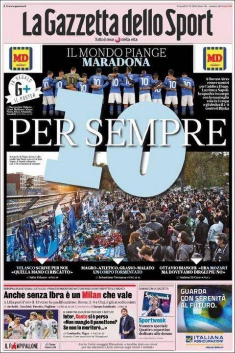 Πρωτοσέλιδο από τον διεθνή Τύπου για το τελευταίο αντίο στον θρυλικό Ντιέγκο Μαραντόνα