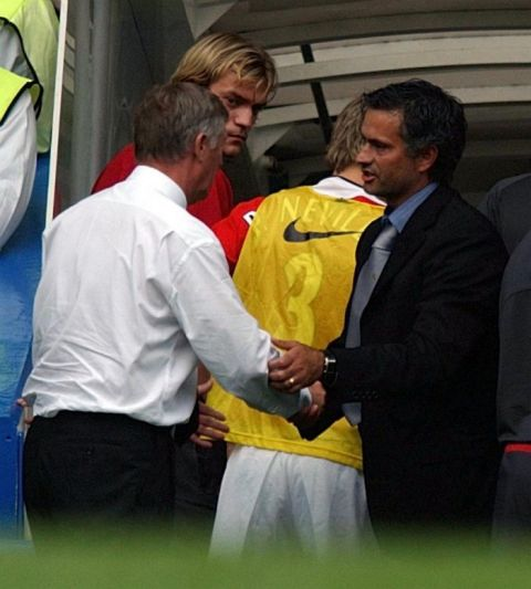Chelsea manager Jose Mourinho (right) and his Manchester United  counterpart Alex Ferguson shake hands at end of the  Premiership match between their two sides at Stamford Bridge, London. THIS PICTURE CAN ONLY BE USED WITHIN THE CONTEXT OF AN EDITORIAL FEATURE. NO WEBSITE/INTERNET USE UNLESS SITE IS REGISTERED WITH FOOTBALL ASSOCIATION PREMIER LEAGUE.