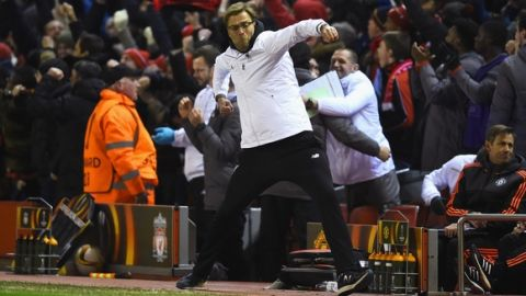 """""""LIVERPOOL, ENGLAND - MARCH 10:  Jurgen Klopp, manager of Liverpool celebrates as Roberto Firmino of Liverpool scores their second goal during the UEFA Europa League Round of 16 first leg match between Liverpool and Manchester United at Anfield on March 10, 2016 in Liverpool, United Kingdom.  (Photo by Laurence Griffiths/Getty Images)"""""""