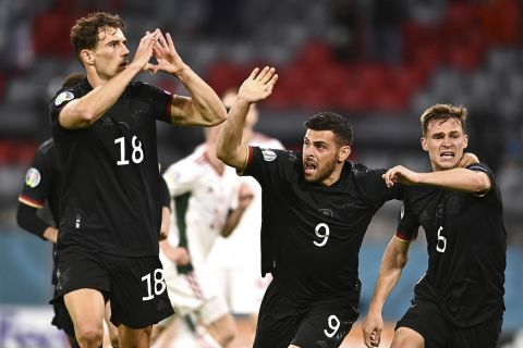 Ο Λέον Γκορέτσκα πανηγυρίζει το γκολ του με την Γερμανία κόντρα στην Ουγγαρία για το Euro 2020