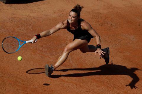Η Μαρία Σάκκαρη σε στιγμιότυπο του αγώνα της με την Πολόνα Χέρτσογκ για το Open Ιταλίας, Ρώμη   Δευτέρα 10 Μαΐου 2021
