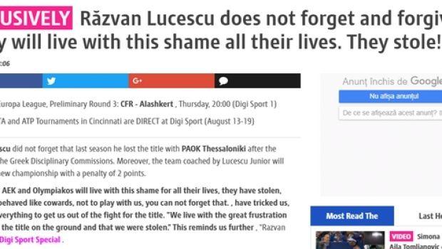 """Λουτσέσκου: """"ΑΕΚ και Ολυμπιακός θα ζουν με τη ντροπή"""""""