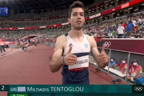 Ο Μίλτος Τεντόγλου μετά το πρώτο του άλμα στους Ολυμπιακούς αγώνες | 31 Ιουλίου 2021