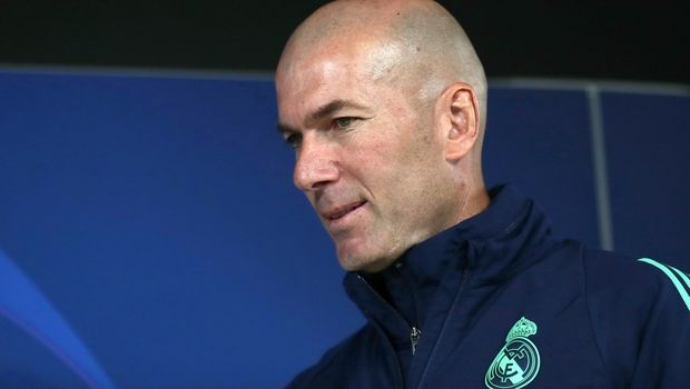 Real Madrid's head coach Zinedine Zidane attends a press conference at the team's Valdebebas training ground in Madrid, Spain, Tuesday, Feb. 25, 2020. Real Madrid will play against Manchester City in a Champions League soccer match on Wednesday. (AP Photo/Manu Fernandez)