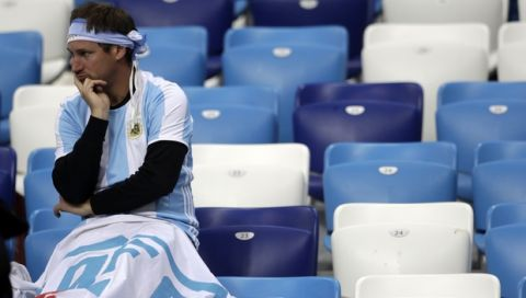 An Argentinian fan reacts after the group D match between Argentina and Croatia at the 2018 soccer World Cup in Nizhny Novgorod Stadium in Nizhny Novgorod, Russia, Thursday, June 21, 2018. Croatia won 3-0. (AP Photo/Petr David Josek)
