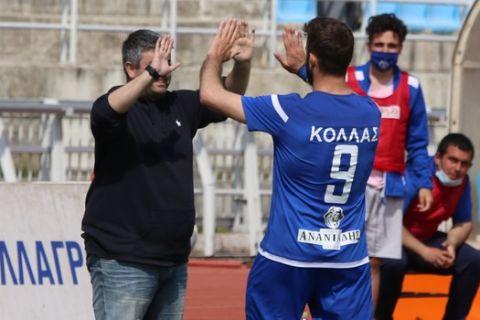 Ο Κόλλας πανηγυρίζει γκολ της Καβάλας κόντρα στην Κοζάνη για την Football League.