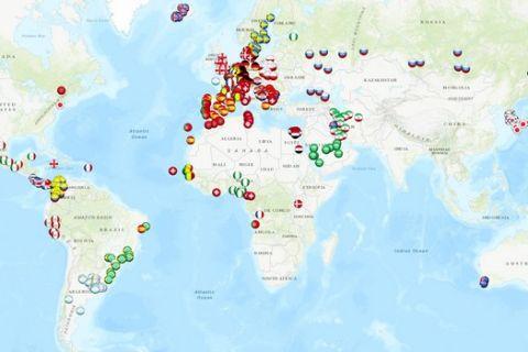 Διαδραστικός χάρτης δείχνει πού γεννήθηκε κάθε παίκτης του Παγκοσμίου Κυπέλλου