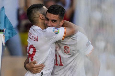 Ο Φεράν Τόρες πανηγυρίζει το γκολ που σημείωσε κόντρα στη Σλοβακία