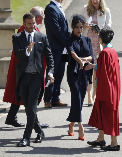 David and Victoria Beckham arrive for the wedding ceremony of Prince Harry and Meghan Markle at St. George's Chapel in Windsor Castle in Windsor, near London, England, Saturday, May 19, 2018. (Odd Anderson/pool photo via AP)
