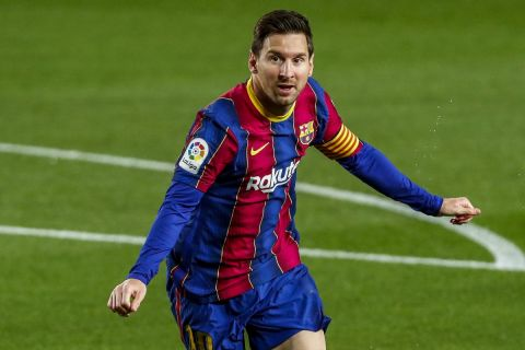Ο Μέσι πανηγυρίζει το γκολ του στο Μπαρτσελόνα - Χετάφε για τη La Liga.