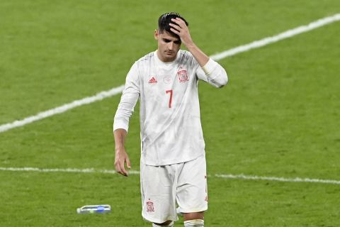 Απογοητευμένος ο Άλβαρο Μοράτα μετά τον αποκλεισμό Ισπανίας κόντρα στην Ιταλία στον ημιτελικό του Euro 2020