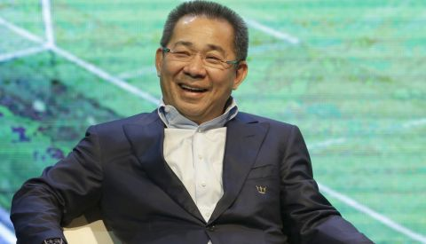 Leicester City's chairman Vichai Srivaddhanaprabha, smiles during press conference in Bangkok, Thailand, Wednesday, May 18, 2016. English Premier League champions Leicester city arrived to present their trophy to the people of Thailand. Leicester is owned by Thai duty free group King Power.  (AP Photo/Sakchai Lalit)