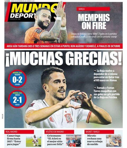 Το πρωτοσέλιδο της Mundo Deportivo (9/9) μετά τη νίκη της Εθνικής Ελλάδας επί της Σουηδίας στα προκριματικά του Μουντιάλ 2022