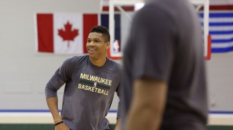 ST. FRANCIS, WI - MARCH 9:  Giannis Antetokounmpo #34 of the Milwaukee Bucks practices while Jason Kidd hosts a Make-a-Wish Clinic at the Milwaukee Bucks Orthopedic Hospital of Wisconsin Training Center on March 9, 2016 in St. Francis, Wisconsin. NOTE TO USER:  User expressly acknowledges and agrees that, by downloading and or using this Photograph, user is consenting to the terms and conditions of the Getty Images License Agreement.  Mandatory Copyright Notice:  Copyright 2016 NBAE (Photo by Gary Dineen/NBAE via Getty Images)
