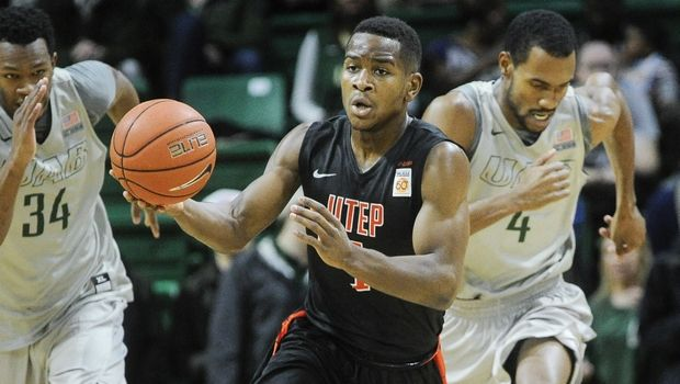 UTEP guard Dominic Artis (1) pushes the ball up the floor against UAB during an NCAA college basketball game, Saturday, Jan. 9, 2016, in Birmingham, Ala. UAB won 87-80. (AP Photo/John Amis)