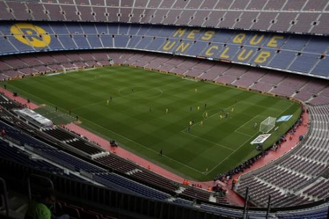 FILE, In this Sunday, Oct. 1, 2017 photo Spanish La Liga soccer match between Barcelona and Las Palmas is played at the Camp Nou stadium in Barcelona, Spain. (AP Photo/Manu Fernandez, File)