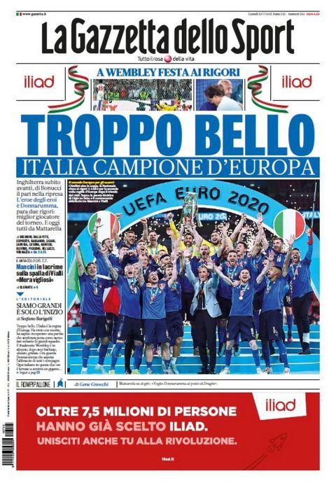 Το πρωτοσέλιδο της Gazzetta dello Sport μετά την κατάκτηση του Euro 2020 από την Ιταλία