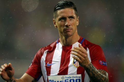Atletico's Fernando Torres looks dejected at the end of a Champions League semifinal, 2nd leg soccer match between Atletico de Madrid and Real Madrid, in Madrid, Spain, Wednesday, May 10, 2017 . (AP Photo/Daniel Ochoa de Olza)