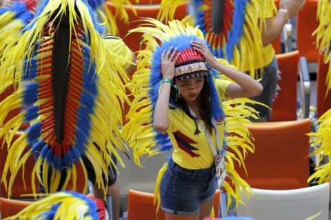 Colombian fan gets ready for group H match between Colombia and Japan at the 2018 soccer World Cup in the Mordavia Arena in Saransk, Russia, Tuesday, June 19, 2018. (AP Photo/Vadim Ghirda)