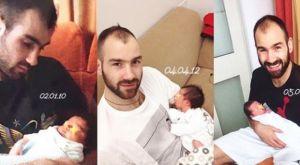 Όμορφη φωτογραφία με τον Σπανούλη αγκαλιά με κάθε παιδί του μετά από κάθε γέννα