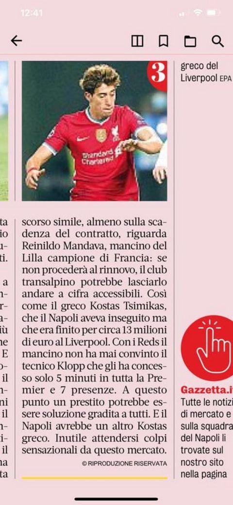 Το δημοσίευμα της Gazzetta dello Sport για ενδιαφέρον της Νάπολι για τον Τσιμίκα (19/6)