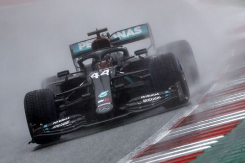 Mercedes driver Lewis Hamilton of Britain steers his car during the qualifying for the Styrian Formula One Grand Prix at the Red Bull Ring racetrack in Spielberg, Austria, Saturday, July 11, 2020. The Styrian F1 Grand Prix will be held on Sunday. (Leonhard Foeger/Pool via AP)