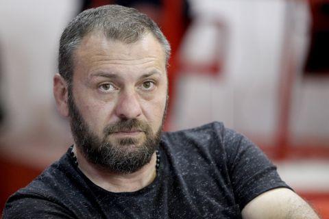 Ο Γιώργος Ανατολάκης στον τελικό γυναικών του  CEV Volleyball Chalenge Cup Ολυμπιακός - Μπούρσα