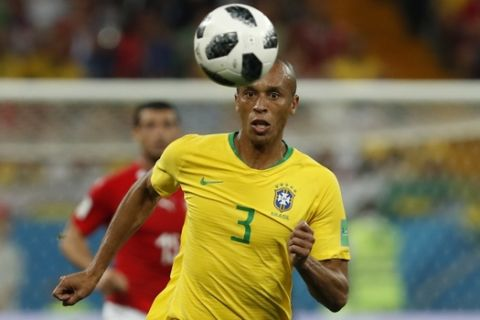 Brazil's Miranda controls the ball during the group E match between Brazil and Switzerland at the 2018 soccer World Cup in the Rostov Arena in Rostov-on-Don, Russia, Sunday, June 17, 2018. (AP Photo/Darko Vojinovic)