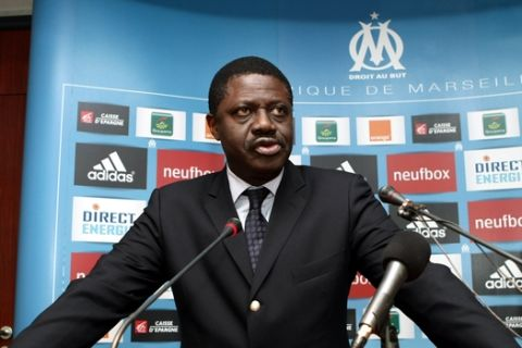 Olympique Marseille soccer team president Pape Diouf, seen  during a press conference    in Marseille , southern France, Thursday, Jan. 15, 2009. Marseille signed former Arsenal and Lyon striker Sylvain Wiltord on loan for six months from division rival Rennes. (AP Photo/Claude Paris)